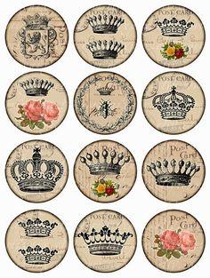 crowns Vintage Printable Tags Digital Collage Sheet by Vintage Tags, Papel Vintage, Images Vintage, Vintage Diy, Vintage Labels, Vintage Ephemera, Vintage Paper, Printable Images, Printable Labels