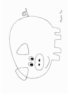 pig puppet template - simple shapes coloring pages stencils and fonts