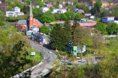 "Here is a view of Saltsburg that I've fake ""Tilt Shift""ed."