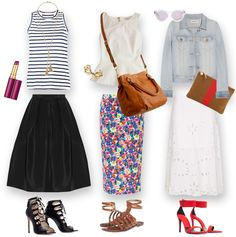 Three ways to rock a midi skirt.  Which one would you choose?