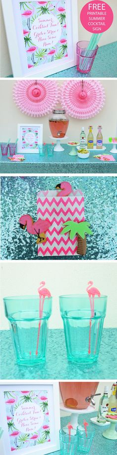 FREE cute and fun printable flamingo cocktail sign. Summer cocktail fun! Grab a straw and have some rum!