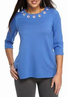 Kim Rogers Blue Petite French Terry Grommet Tunic Knit Top
