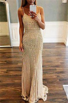 Spaghetti Straps Long Mermaid Sparkly Open Back Prom Dresses Evening Dresses Z0537