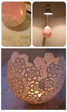 This candle holder is delicate and romantic at the same time. It is created using wall paper paste and a lace doily. It would be great if you could up-cycle some of Grandma's old doily'…