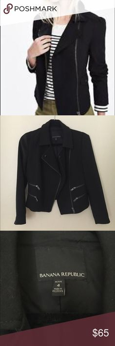 Banana Republic • moto jacket Banana Republic black moto jacket. Zips in front and zip side pockets. Great used condition except for minor pilling on arms from normal wear, see last pic. Banana Republic Jackets & Coats
