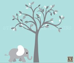 Jungle Animal Tree Decal Nursery Wall by StickItDecalDesigns