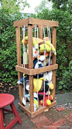 A DIY tutorial to build a stuffed animal zoo for stuffed animal storage.