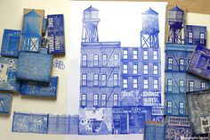 *if i do the buildings in blocks then i can do my own compositions later on* Tampon : Le Tampographe Sardon, architecture, bleu Stencil Printing, Stamp Printing, Screen Printing, Gravure Illustration, Illustration Art, Linocut Prints, Art Prints, Lino Art, Etching Prints