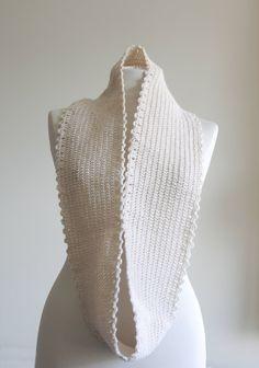 Cream Infinity Scarf Crochet cowl loop scarf Fall by SENNURSASA, $29