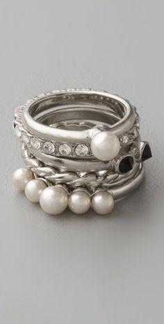 pearl rings, silver,diamonds