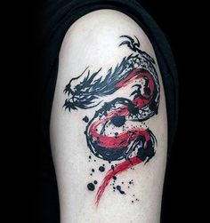 The best dragon tattoo ideas for men & women. Most meaningful dragon tattoos for arms, thighs, and dragon tattoo sleeves. Watercolor Dragon Tattoo, Red Dragon Tattoo, Chinese Dragon Tattoos, Dragon Tattoo Designs, Tattoo Abstract, Abstract Tattoo Designs, Tribal Tattoo Designs, Pisces Tattoos, Red Tattoos