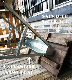 DIY patio table love the galvanized sawhorse for legs Diy Outdoor Table, Diy Patio, Patio Table, Outdoor Dining, A Table, Outdoor Decor, Wood Patio, Dining Tables, Outdoor Spaces