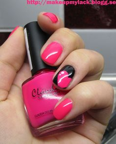 Love: Pink manicure with black and pink heart accent nail art design | See more nail designs at http://www.nailsss.com/...