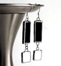 Classic Black and White Drop Stained Glass Earrings  by LAGlass