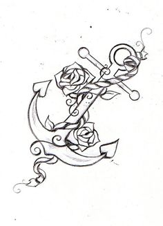 Anchor, Rope, & Rose Tattoo Sketch.
