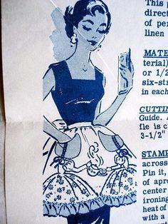 1950s APRON PATTERN SOUTHERN BELLE POURING TEA