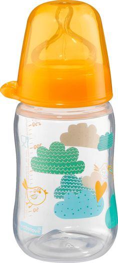 Weithalsflasche mit anatomischen Weithals-Trinksauger M, Universalgröße, 280 ml, orange