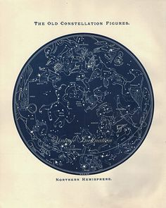 1887 Antique Astronomy OLD CONSTELLATIONS  NORTHERN Star Atlas Map Original Vintage zodiac chart stars constellation stargazing star maps