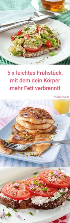Aller Anfang ist leicht - Abnehmen - A diet always includes a healthy and nutritious breakfast. In order not to unnecessarily increase the number of calories, here are 5 light breakfast ideas with which the body also burns fat. Nutritious Breakfast, Health Breakfast, Low Carb Breakfast, Healthy Breakfast Recipes, Brunch Recipes, Healthy Snacks, Healthy Eating, Healthy Recipes, Breakfast Ideas