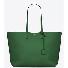Large Shopping Saint Laurent Tote Bag (22.800 CZK) ❤ liked on Polyvore featuring bags, handbags, tote bags, green leather handbag, tote handbags, green leather tote, genuine leather tote bag and leather purse