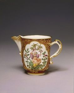 Milk jug Place of origin: Chelsea, England (made) Date: 1759-1769 (made) Artist/Maker: Chelsea Porcelain factory (maker) Materials and Techniques: Soft-paste porcelain, painted in enamel colours and gilt