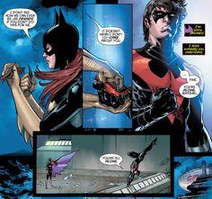 Nightwing(Dick Grayson) and Batgirl(Barbara Gordon) what happen to them? Nightwing And Batgirl, Batgirl And Robin, Damian Wayne, Red Hood, Tim Drake, Jason Todd, Marvel Funny, Marvel Dc Comics, Catwoman