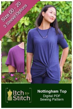 The Nottingham Top gives the ordinary a twist, literally! Featuring a twisted knot in the front, the Nottingham has a relaxed fit bodice with three sleeve options—long sleeve, elbow short sleeve and butterfly sleeve. It's a super comfy, casual knit top that looks fabulous with pants or skirt. Nottingham Top Features: Front, off-centered, twisted knot …