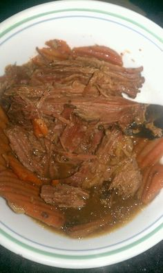 3 lb sirloin tip roast. 1 pack ranch dressing. 1 pack onion soup mix. 1 pack zesty itialian dressing. 1 cup water In crockpot on low for 8-10 hours. Or tender. Just place roast in crockpot then dump everything else on top! Easy n yummy! I then ads carrots n potatoes sometimes too. Serving size 4 oz 190 cal with carrots. Myfittnesspal