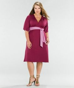 V Neck Knee Length Plus Size Bridesmaid Dresses Casual With Sleeves...  I'd love this in black with a silver or sequined sash