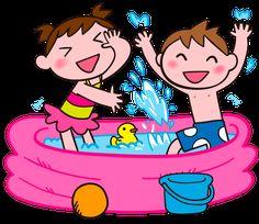 水遊びする子どもたち イラスト素材 水遊びする子どもたち イラスト素材