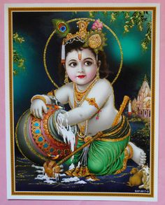 India Hindu Religious God Child Krishna With Glitter Print  (R775)