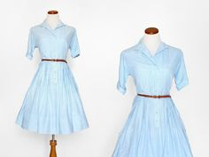 50s Day Dress / Gingham Dress / Print Dress / White Dress / Day Dress /  1950s Cotton Dress /  Vintage Clothing / Women Dresses