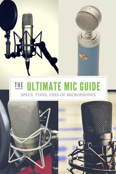 The ULTIMATE guide to recording studio microphones. Everything you need to know about types, specs and uses, with a useful jargon buster. Be a mic expert! Recording Booth, Music Recording Studio, Music Studio Room, Recording Studio Design, Home Recording Studio Equipment, Recorder Music, Singing Tips, Music Production, Specs