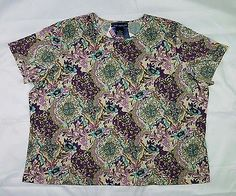 Susan Graver 3X Top Liquid Knit Short Sleeve Floral Purple Blue Tan Sparkles