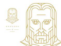 Aragorn designed by Josef Kratochvíl. Connect with them on Dribbble; Tolkien, Graphic Design Branding, Logo Design, Triple Moon Goddess, Logo Face, Line Artwork, Geometric Drawing, Aragorn, Line Illustration