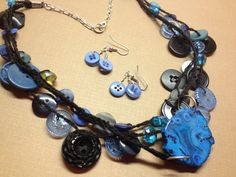 Blue Button Crocheted Necklace with earrings. $30.00, via Etsy.