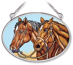 Amia 5550 Hand Painted Glass Suncatcher with Horse Design, 3-1/4-Inch by 4-1/4-Inch Oval by Amia. $11.00. Comes boxed, makes for a great gift. Handpainted glass. Includes chain. Amia glass is a top selling line of handpainted glass decor. Known for tying in rich colors and excellent designs, Amia has a full line of handpainted glass pieces to satisfy your decor needs. Items in the line range from suncatchers, window decor panels, vases, votives and much more.