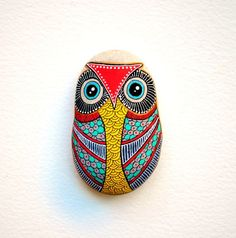 Adorable Hand painted stone owl