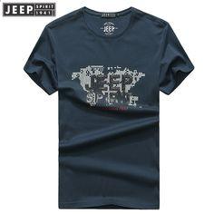 JEEP SPIRIT Ny mænds T-shirt 2018 Sommer Rund hals Kortærmet Brev Mønster  Forretning Casual Mænd t-shirt 100% Bomuld. Camisetas 28edea94799