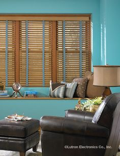 These wooden shades highlight any living room.