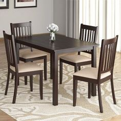 This dining set includes a dining table and 4 dining chairs. The dining table is crafted with clean lines while the dining chairs are classically styled with a plush, microfiber seat with plenty of comfortable support. Dining Room Sets, Dining Table Chairs, Dining Furniture, A Table, Pallet Furniture, Wood Table, Solid Wood Dining Set, 5 Piece Dining Set, Chairs For Small Spaces