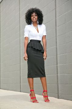 Fitted Button Down + Frill Peplum Skirt