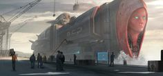 Ocean Princess by Jorge Oliveira Dark Fantasy Art, Sci Fi Fantasy, Train Tattoo, Dreamland, Future Transportation, Fantasy Beasts, Fantasy Places, Cyberpunk Art, Sci Fi Art