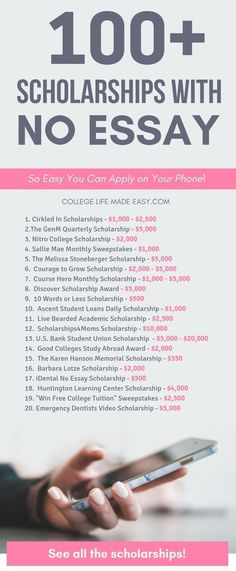 A list of the EASIEST scholarships applications for college and high school students. More than 100 scholarships for 2019 - Most of these are so easy that you can apply in minutes! via high school Actually Easy, No Essay Scholarships (Apply on Your Phone) High School Scholarships, Easy Scholarships, Scholarships For Nursing Students, Graduate Scholarships, College Problems, Life Hacks For School, School Study Tips, College Study Tips, High School Tips