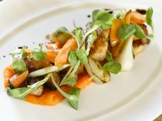 Bay scallops with spring veggies and carrot puree. girl & the fig.