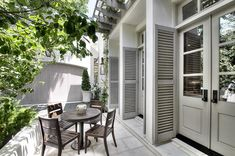 I like the idea of french doors leading onto a patio from my kitchen Outdoor Rooms, Outdoor Living, Outdoor Decor, Outdoor Landscaping, Exterior Remodel, Exterior Doors, Porches, Modern Farmhouse Exterior, Villa