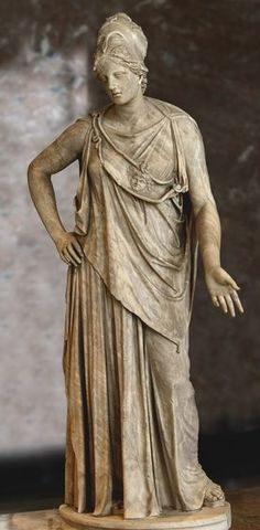 """Marble statue of Athena, known as """"Athena Mattei"""" - height 2,3 m, Roman copy 1st c. BC after Greek bronze model of the 4th century BC -  at the Louvre Museum"""