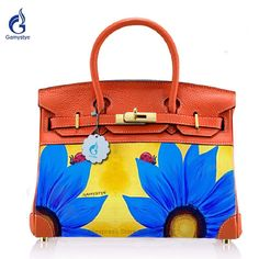 5677bfe13450 Art Graffiti Birkin Genuine Leather + Canvas handbags Crossbody bags for women  Purse Art Oil Hand