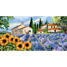 Hameau provençal canevas - Margot African Paintings, Lavender Bouquet, Watercolor Landscape Paintings, Needlepoint Canvases, Folk Art, Beautiful Pictures, Images, Scenery, Drawings