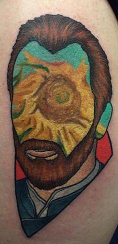 Faceless van Gogh piece by Jay Joree at Last Angels Tattoo in Dallas Texas
